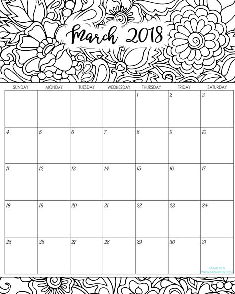 printable monthly calendar sheets calendar coloring pages 2018 coloring pages ideas