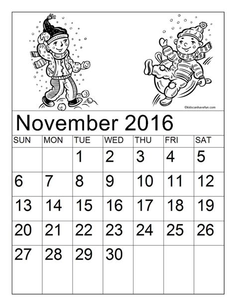 november month coloring page 1000 images about printable calendars monthly calendar