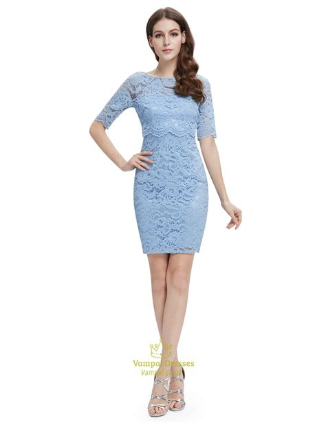 Lace Sleeve Cocktail Dress light blue lace sheath cocktail dress with half sleeves