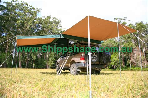 main tent and awning the bush hut shippshape roof top tents