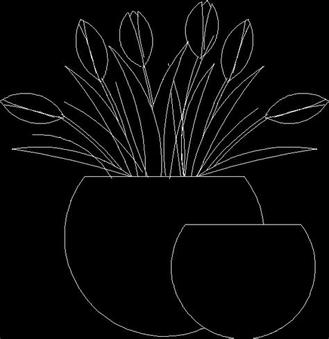 flower design elevation tulip flower in vase 2d dwg block for autocad designscad