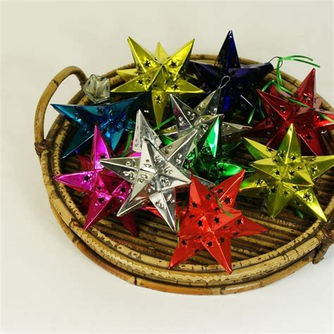 12 points mexican tin star christmas ornament painted