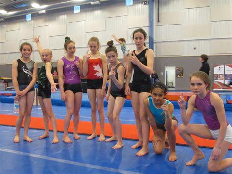 junior high school girls gymnastics toes girls team