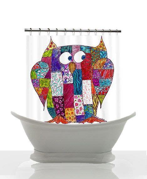 owl print shower curtains artistic shower curtain logcabin owl patchwork print