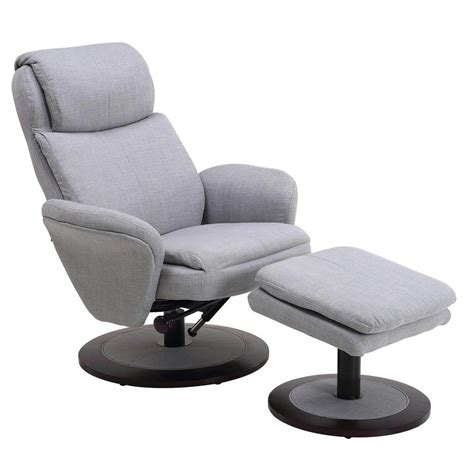 grey chair with ottoman mac motion comfort chair light grey fabric swivel recliner