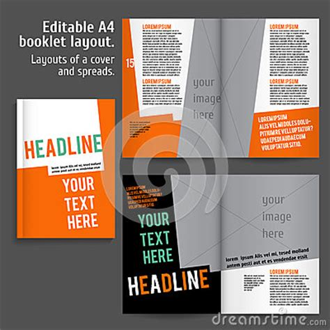a4 book layout design a4 booklet layout design template with cover stock vector