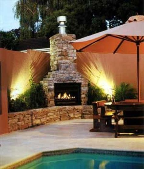 pool landscaping and outdoor fireplace design image