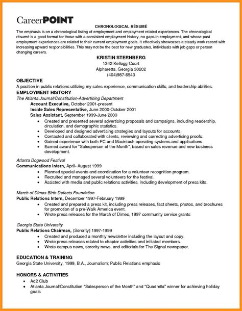 Work History Resume Format by 7 Work History Resume Template Agenda Exle