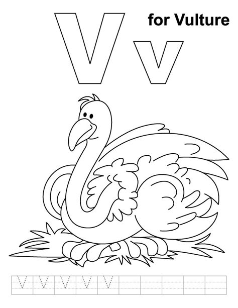 V Is For Coloring Page by Vulture Coloring Pages Az Coloring Pages