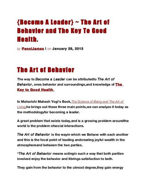 become a leader the art of behavior and the key to