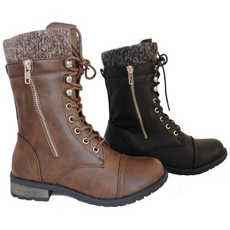 lace up moto new womens military boots motorcycle heel combat booties