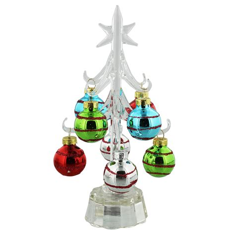 glass christmas tree with multi colour baubles led