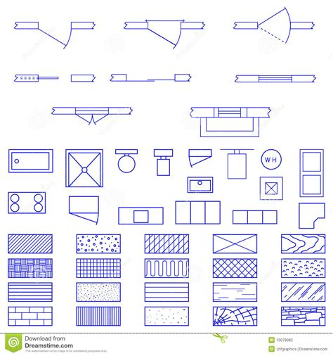 Livingroom Pc blueprint symbols used by architects stock photography