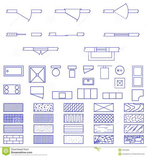 blueprint symbols blueprint symbols used by architects stock vector image 10078082