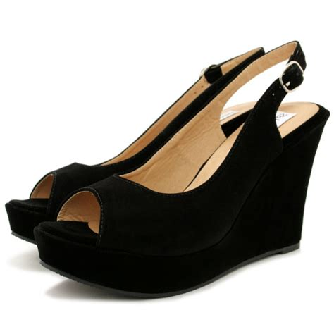wedge shoes for black suede style slingback shoes buy black suede style