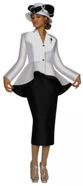 women church suits white black n95472 2 piece peplum