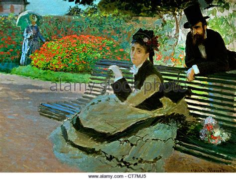 camille monet on a garden bench monet garden painting stock photos monet garden painting