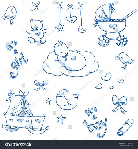baby layout vector baby icons toys teddy pram duckling cradle hand
