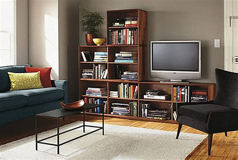 Living Room Book Shelf by A Living Room With A Large Bookshelf Decoist