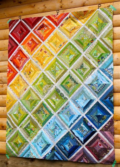Best Quilts Cora Quilts Rainbow Scrappy String Quilt Top