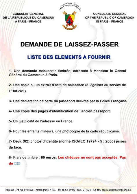 Exemple De Lettre De Demande De Laisser Passer Consulat Du Cameroun 224 Laissez Passer