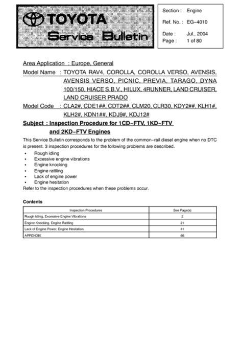 Toyota Service Bulletin Bulletin Service Technical Toyota