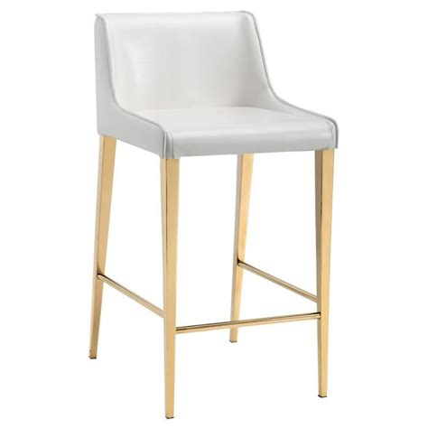 Gold And White Stool by Seating White Leather Counter Stool