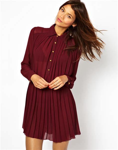 tfnc swing dress tfnc london pleated swing shirt dress in red lyst