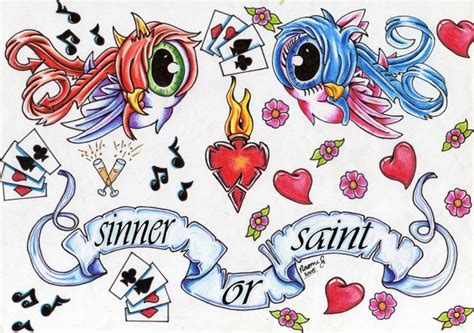 tattoo flash saint or sinner by killorkiss on deviantart