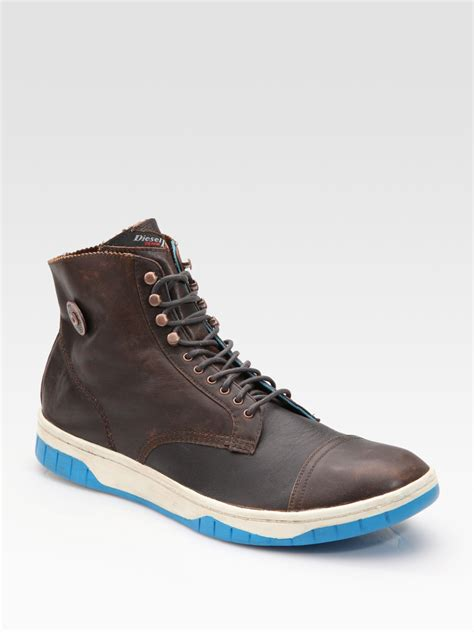 diesel basket tatra sneaker boots in brown for coffee lyst