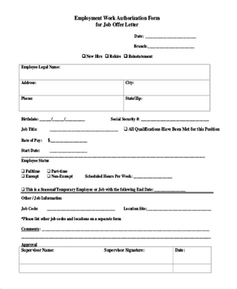 additional work authorization template sle work authorization form 9 free documents in word