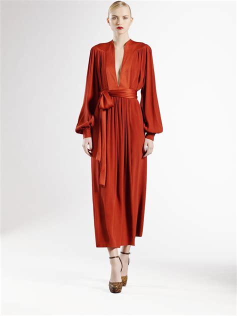 Longdress Gucci With Label gucci silk dress in orange lyst