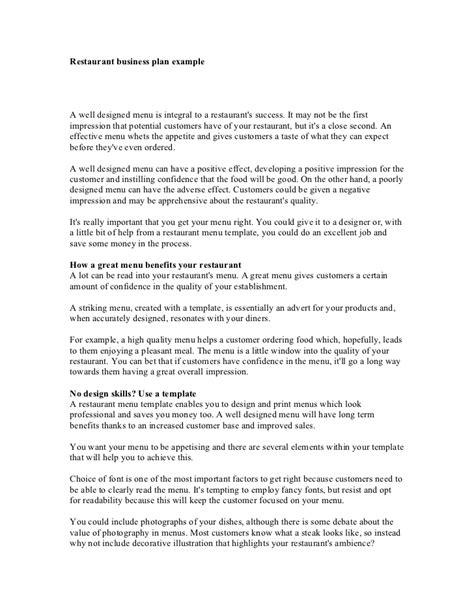 sle business plan of restaurant restaurant business plan exle