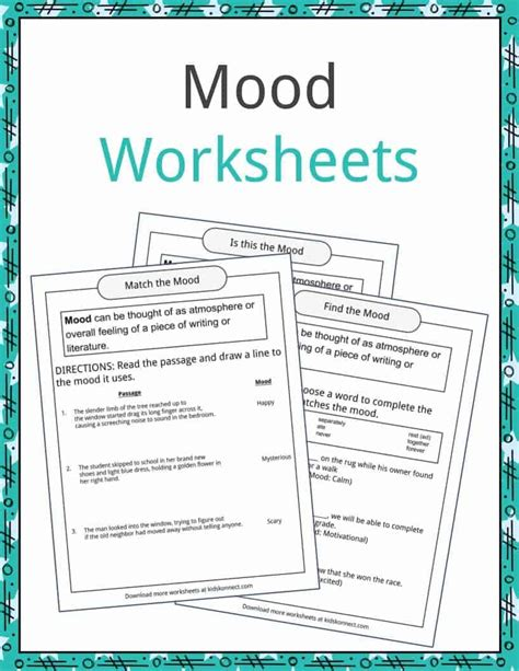 theme definition worksheet pictures tone and mood worksheets jplew