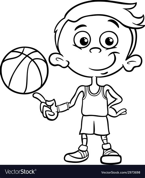 Picture Of Boy Basketball boy basketball player coloring page royalty free vector