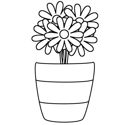 coloring page of a vase vase and flower template blank loving printable