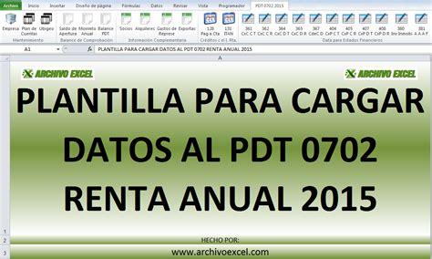 Pdt Renta Anual 2015 | pdt 0702 renta anual 2015 archivo excel