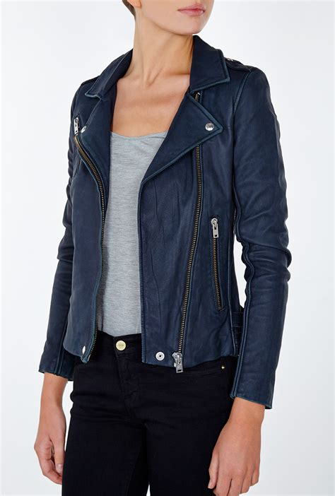 Navy Blue Leather by Iro Tara Navy Leather Jacket In Blue Lyst