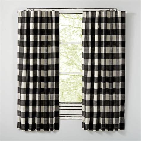 black plaid curtains black buffalo check curtain the land of nod