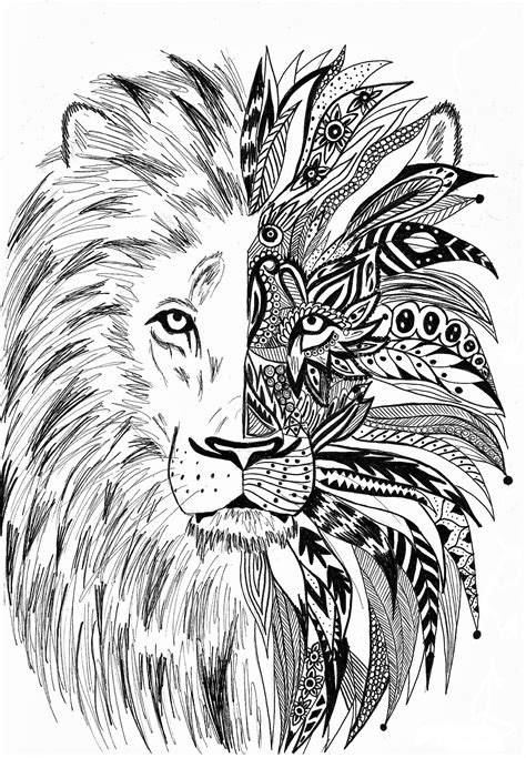 Antistress lion Coloring Pages to download and print for free