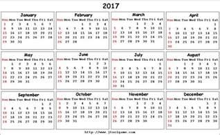 2018 Calendar Monday Start 2017 Calendar Starting Monday