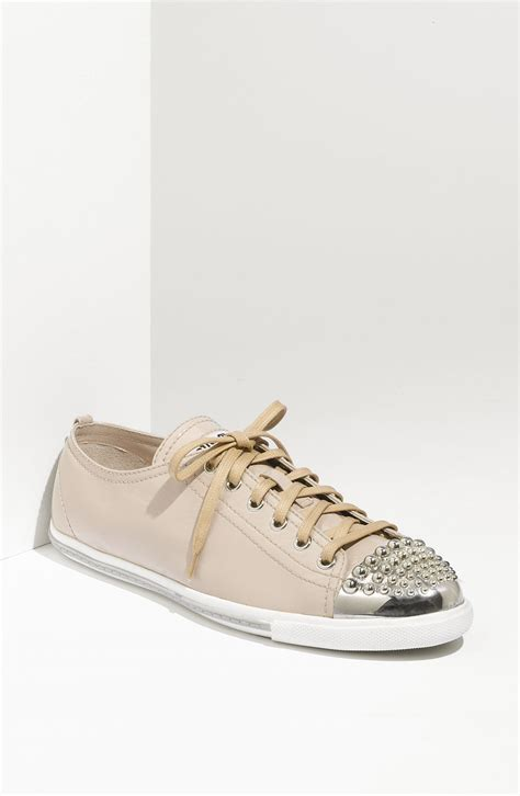 miu miu sparkle sneakers miu miu glitter 2 sneaker in beige leather lyst