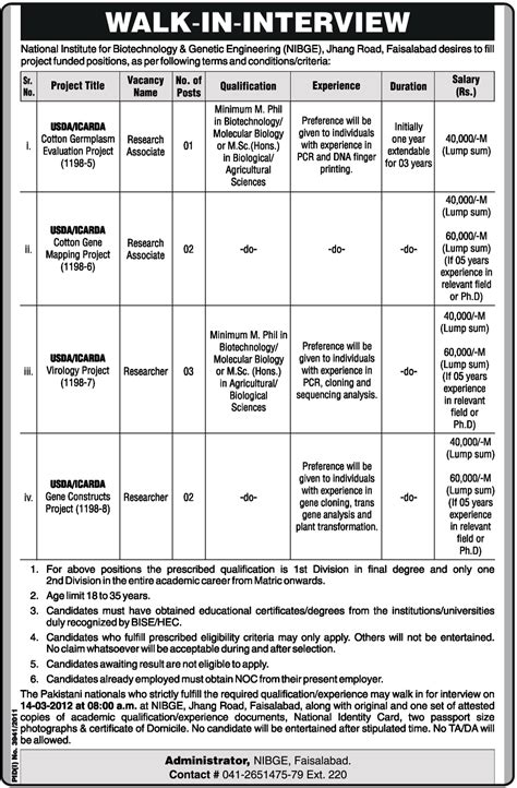 test pattern of paec jobs in national institute for biotechnology and genetic
