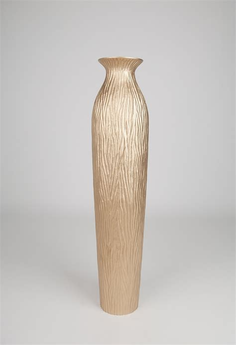 gold floor vase 36 inches wood gold leewadee