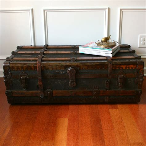 Antique Trunk Coffee Tables Antique Steamer Trunk Coffee Table Flat Top Canvas