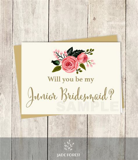 Diy Will You Be My Bridesmaid Cards Template by Be My Junior Bridesmaid Will You Wedding Card Diy