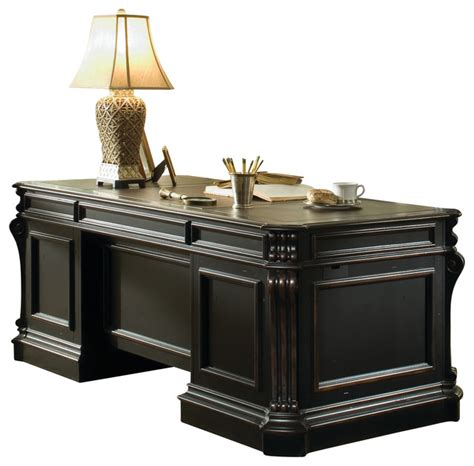 Hooker Furniture Telluride Wood Panel Executive Desk 563   Traditional   Desks And Hutches   by