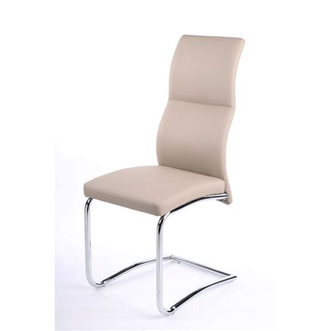 Taupe Dining Room Chairs Palma Dining Chair In Taupe Faux Leather With Chrome Base
