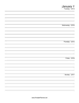 printable 5 year journal five year journal starts 2013