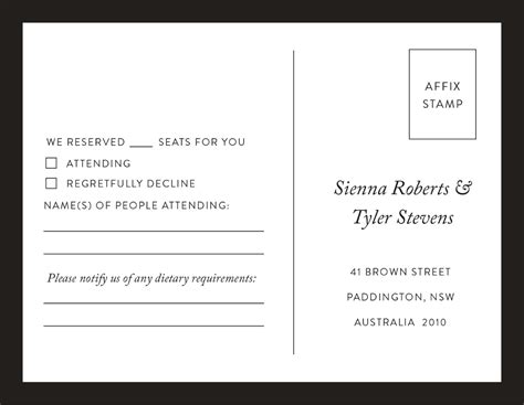 Minimal Digital Printing Rsvp Cards Dietary Requirements Email Template